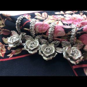 Shabby Cottage Metal Rose Napkin Rings